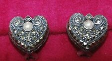 Judith Jack Sterling Silver Heart Marcasite Clip Earring with Pearl/ Nice Gift