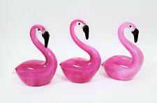 "NEW 6"" H MURANO STYLE GLASS,CLEARN+PINK FLAMINGO BIRD FIGURINE,PAPERWEIGHT"