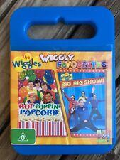 DVD THE WIGGLES FAVOURITES HOT POPPIN POPCORN + BIG BIG SHOW 2010 SAM MORAN EUC