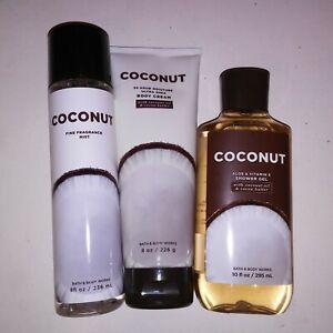 Set of 3 Bath and Body Works Body Cream Shower Gel Body Spray Mist Coconut New