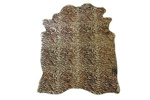 Tiger Print Cowhide Rug 5x7ft, Large Cow Skin Animal hair on Real Leather Rug