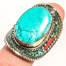 TIBETAN TURQUOISE RED CORAL 925 Sterling Silver Overlay Ring Jewelry Sz 9.25