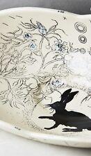 NIB Anthropologie DIANA FAYT Sketched Silhouette Serving Bowl Rabbit Blue Flower