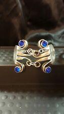 Silver double Fork Bracelet Handmade vtg silverware rhinestone spoon bling blue