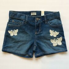 Children's Place Girls Denim Shorts Size 10 Blue Butterfly Embroidery Pockets