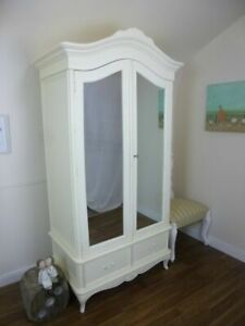 Double French Charroux Armoire In Cream (Large) - Handmade Double Wardrobe
