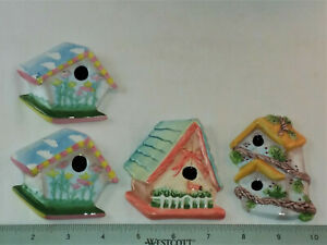 "4 CERAMIC 2D BIRD HOUSES- APPROX. 3"" x 3"" x 1/4"" EACH"