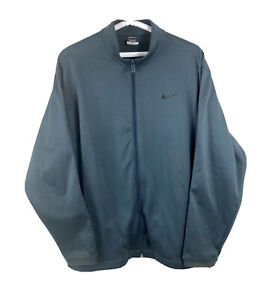 Nike Golf Mens XXL Therma Fit Blue Full Zip Up Jacket Track Workout Fleece Lined