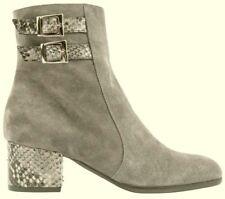 JONES BOOTMAKER  Grey Suede Snakeskin Trim Block Heel MARTA Ankle Boots BNWT 6.5