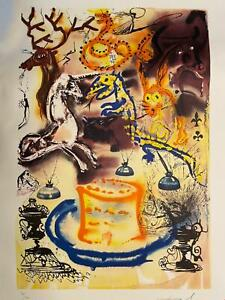 """Signed SALVADOR DALI Alice in Wonderland Who Stole the Tarts?--21x29"""""""