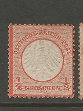 Germany 1872 1/2gr red orange Small Shield sc 3 CV$950 Mint No Gum
