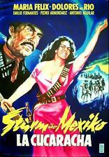 Dolores del Rio Maria Felix STURM ÜBER MEXIKO EA-Filmplakat A1 GEROLLT 1958
