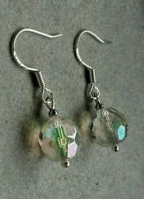 earrings,  Vintage Aurora Borealis AB Faceted Crystal - NEW 925 STERLING SILVER