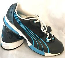 Puma Women's Voltaic Cell Black & Turquoise Blue Sneakers Sz 9
