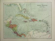 1904 ANTIQUE MAP ~ WEST INDIES CUBA JAMAICA HAYTI PORTO RICO BAHAMA PANAMA