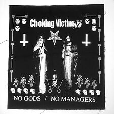 "CHOKING VICTIM no gods no managers 14"" BACK PATCH sew-on jacket leftover crack"