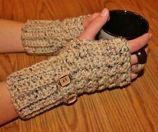 Oatmeal Handmade Crochet Fingerless Gloves Arm Warmers Hand Warmers