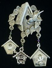Enchanting Birdhouse Bird House Brooch Tack Pin Slvr Ox