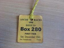 15/12/1990 Ascot Races - Horse Racing Badge (folded)