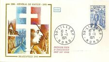 LETTRE PREMIER JOUR GENERAL DE GAULLE BRAZZAVILLE 1944 - LILLE 1971