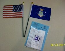Small Air Force and USA Flag Combo Stick Flags plus Free RFID Identity Sleeves
