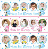 2ftx6ft Personalised birthday banners photo minnie mickey mouse children party