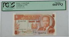 1.1.1982 Kenya Central Bank 5 Schillings Note SCWPM# 19b PCGS 66 PPQ Gem New