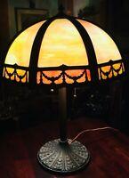 Large Art Nouveau Miller Slag Glass Overlay Lamp 12 Panels