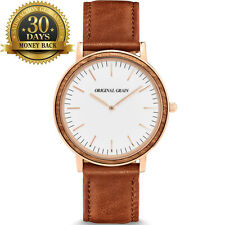Original Grain Rose&Gold Watch Leather Strap 12 Hour Dial Men's Wrist Watch