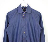 Claudio Lugli Mens Long Sleeve Blue Trim Pattern Slim 100% Cotton Shirt - S