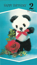 Vintage Happy 2nd Birthday Panda Teddy Bear  2 Years Old 1970s Greeting Card