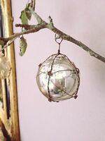 Silver Wire Wrapped Mercury Glass Bauble, Shabby Chic Christmas Tree Decoration