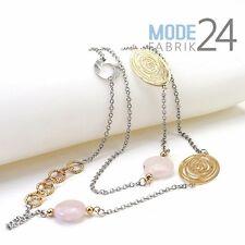 Damen Halskette Kette filigran Gold Silber Rosenquarz Lang 115 cm