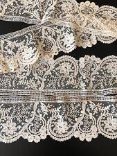 "Antique Lace - Circa 19Thc. Elegant And Fine 85 "",215.9cm Brussels Lace Flounce"