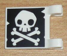 Lego Piraten 1 Fahne / Flagge (2 x 2) mit Totenkopf in schwarz / weiß