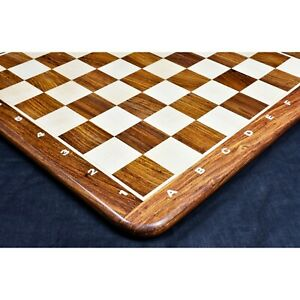 """17"""" Inlaid Wood Chess board -Golden Rosewood & Maple - Algebraic Notations"""