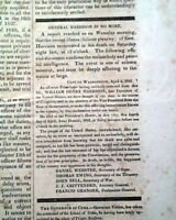 President WILLIAM HENRY HARRISON Death w/ Black Mourning Borders 1841 Newspaper