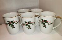 Vintage Lefton Christmas Holly Cups SET OF 5 COFFEE MUGS holly & ribbon