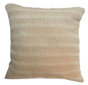 nk38a Thick Pure Linen Stripe Pale Tan Khaki Cushion Cover/Pillow Case Custom Si