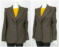 Womens Escada Wool Silk Classic Blazer Jacket Suit Brown Size EU40 / UK12
