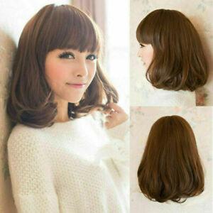 100% Human Hair New Fashion Sexy Women's Medium Dark Brown Curly Natural Wigs