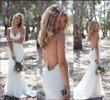 Wedding Dress Bridal Mermaid V-Neck Open Back Spaghetti Strap Appliques Custom