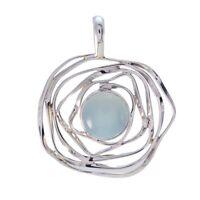 fesselnde Aqua Chalcedon 925 Sterling Silber blau Anhänger echte Großhandel de