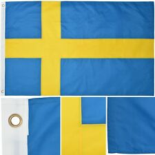 Sweden 3' x 5' Ft 210D Nylon Premium Outdoor Embroidered Swedish Flag