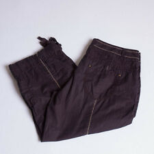 Anthropologie Sitwell Navy Shadow Striped Cargo Capri Pants Size 6