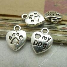 20pc Tibetan Silver Heart MY DOG Pendant Charms Key Jewellery Accessories PJ519