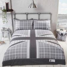 COOL BRITANNIA DOUBLE DUVET COVER SET UK ENGLAND BRITISH BEDDING GREY
