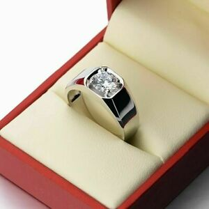 Men's 1 Ct Simulated Moissanite Solitaire Engagement Ring 14K White Gold Over