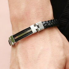 """Fashion Mens Jewelry Black Pu Leather Stainless Steel Bracelet Christmas Gift 9"""""""