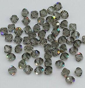 Swarovski Crystal Black Diamond Bicone 5328 Beads; 4mm, 5mm, or 6mm; Silver Gray